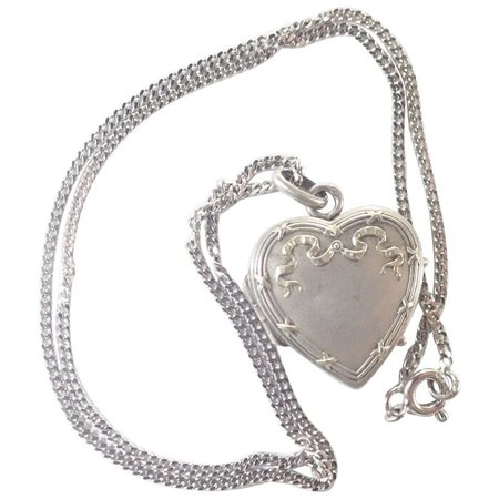French Art Nouveau Silver Heart Locket and Chain : Suzy Lemay | Ruby Lane