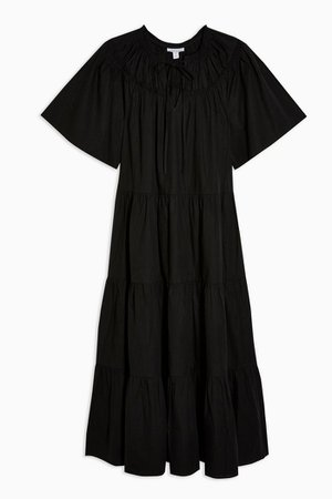 Black Poplin Smock Midi Dress | Topshop