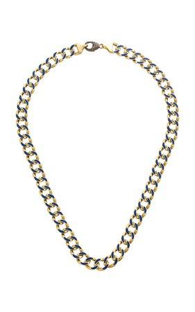Sylva & Cie 18K Gold Enamel Necklace