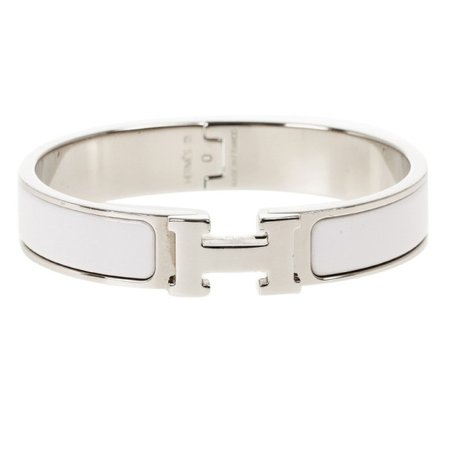 Buy Hermes Clic Clac H White Enamel Palladium Plated Bracelet PM 14377 at best price | TLC