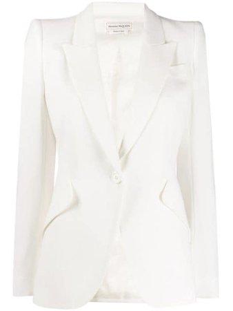 White Alexander Mcqueen Structured Shoulder Blazer For Women | Farfetch.com
