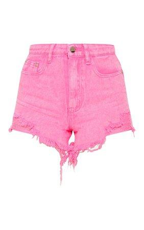 Neon Pink Distressed Mom Shorts | Denim | PrettyLittleThing