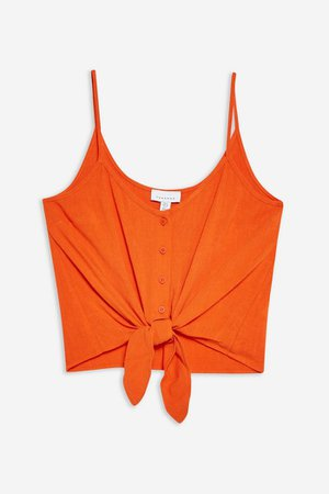 Tie Front Camisole Top   Topshop