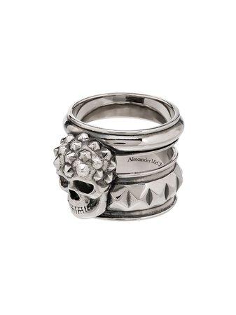 Alexander Mcqueen Skull Face Studded Ring Ss20 | Farfetch.com