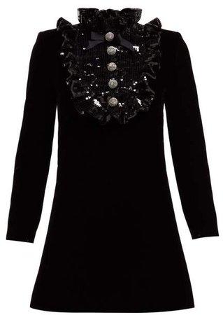 Sequinned Bib Velvet Mini Dress - Womens - Black