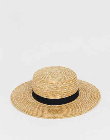 South Beach straw boater hat with black ribbon   ASOS