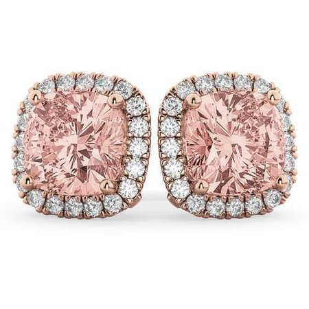 Allurez Halo Cushion Morganite & Diamond Earrings 14k Rose Gold
