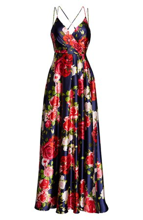 Sequin Hearts Floral Print Satin Gown   Nordstrom