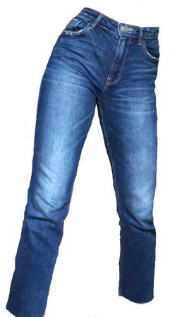 blue denim straight leg pants