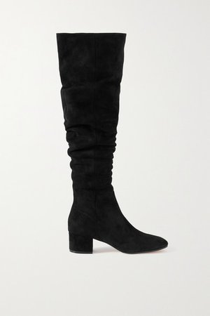 45 Suede Over-the-knee Boots - Black