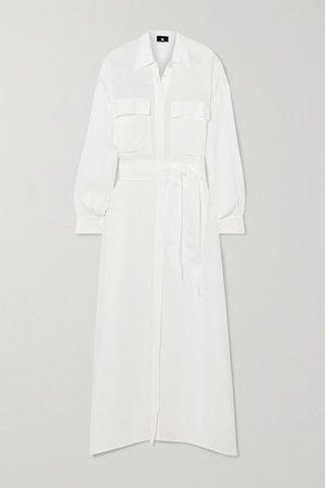 Raya Seersucker Maxi Shirt Dress - White