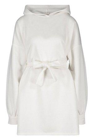 Recycled Bow Detail Puff Mini Dress   Boohoo ivory