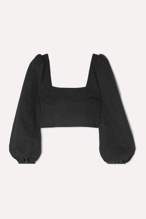 Cropped Cotton-blend Faille Top - Black