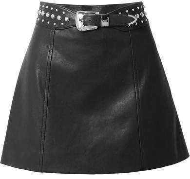 Belted Studded Leather Mini Skirt - Black