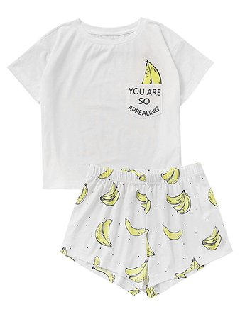 DIDK Women's Cute Cartoon Print Tee and Shorts Pajama Set