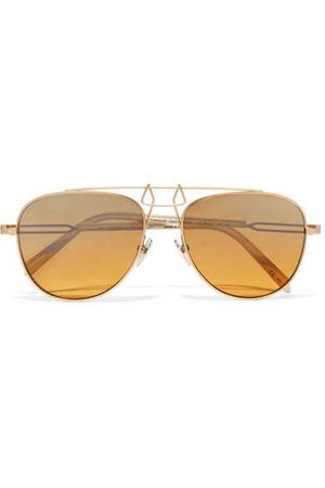 CALVIN KLEIN 205W39NYC | Aviator-style gold-tone and acetate mirrored sunglasses | NET-A-PORTER.COM
