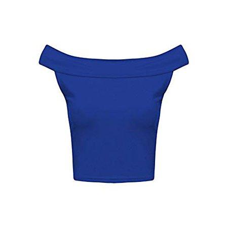 Sleeveless Crop Top Off Shoulder Neck Bardot Dance Stretch-Unbranded-Royal