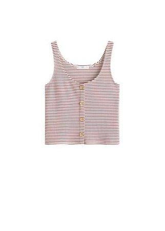 MANGO Striped cotton-blend top