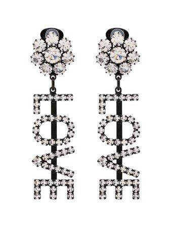 Ashley Williams Love Crystal Clip-On Earrings Ss20   Farfetch.com