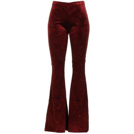 Dark Red Wide Leg Velvet Stretch Pants