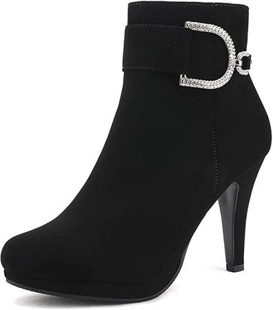 DREAM PAIRS Women's Black Nubuck Platform High Heel Ankle Booties