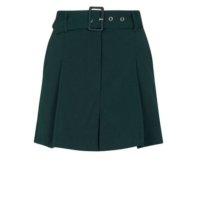 New Look Dark Green Wide Belt Shorts