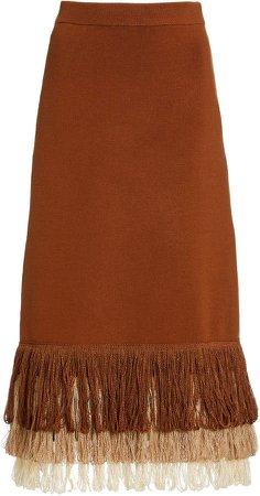 Staud Nelly Fringe Knit Skirt