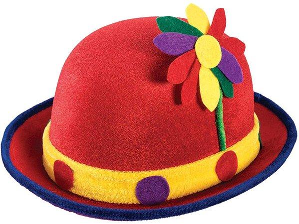 Amazon.com: Forum Novelties Red Clown Derby Hat w/ Flowers: Clothing