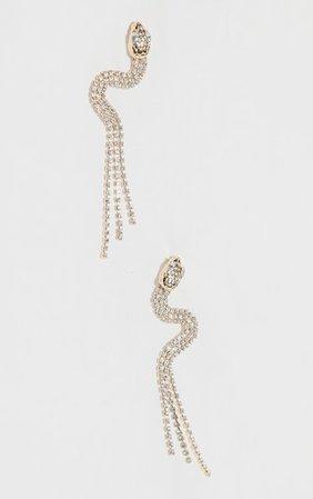 Gold Diamante Snake Tassel Earrings | PrettyLittleThing USA