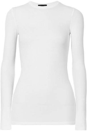Ribbed Stretch-micro Modal Top - White