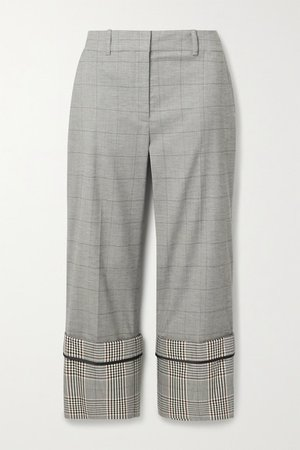 Cropped Checked Wool-blend Straight-leg Pants - Gray
