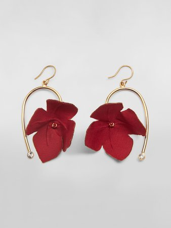 FLORA Earrings In Fabric And Rhinestones With Red Flower from the Marni Spring/Summer 2020 collection | Marni Online Store