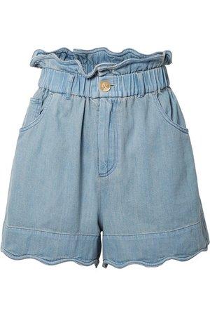 SEA   Dakota scalloped denim shorts   NET-A-PORTER.COM