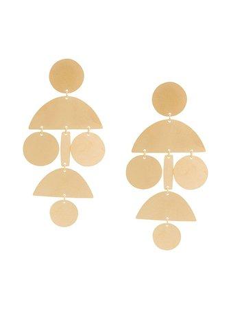 Annie Costello Brown Oversized Geometric Earrings - Farfetch