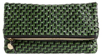 Woven Leather Foldover Clutch