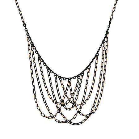 1928 Black-And-Gold-Tone Chain Bib Necklace