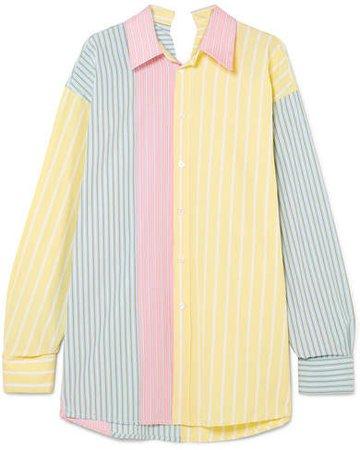 Oversized Striped Cotton Shirt - Yellow