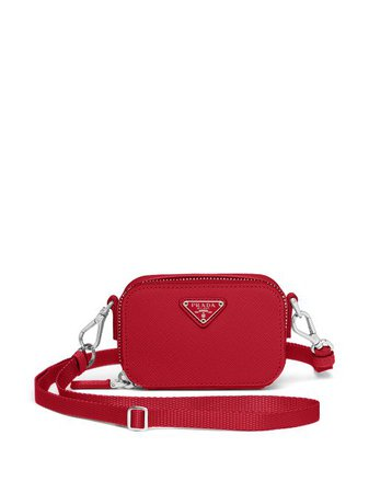Shop red Prada leather multi-functional case with Express Delivery - Farfetch