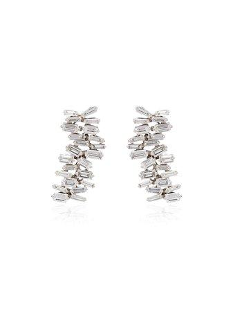 Suzanne Kalan 18kt White Gold Fireworks Diamond Earrings - Farfetch
