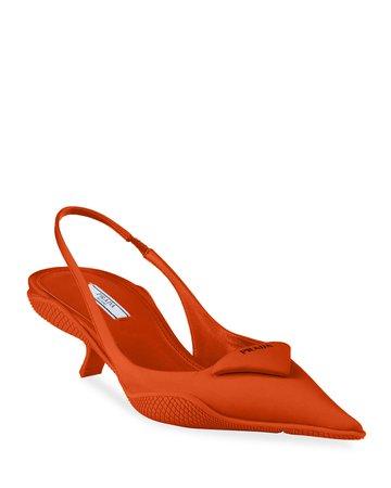 Prada Triangle Kitten-Heel Slingback Pumps | Neiman Marcus