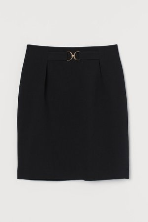Buckle-detail Skirt - Black