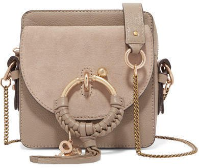 Square Textured-leather And Suede Shoulder Bag - Gray