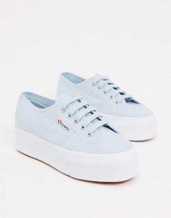 Superga 2790 flatform 4cm sneakers in blue | ASOS