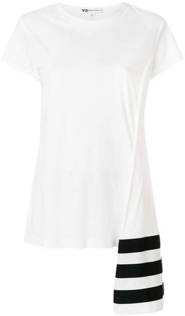 stripe asymmetric hem T-shirt