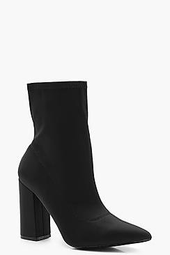 Wide Fit Block Heel Sock Boots