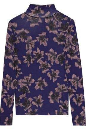 Floral-print Cotton And Modal-blend Turtleneck Top