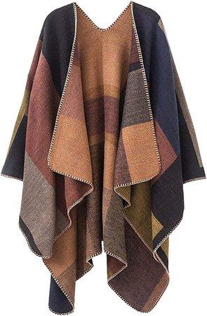 Women's Poncho Cape Shawl Cardigan Open Front Elegant Wrap Sweater (ASeries 11- khaki) at Amazon Women's Clothing store