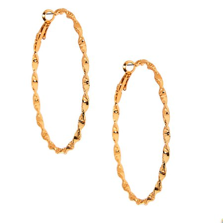Gold 60MM Twisted Hoop Earrings | Claire's US