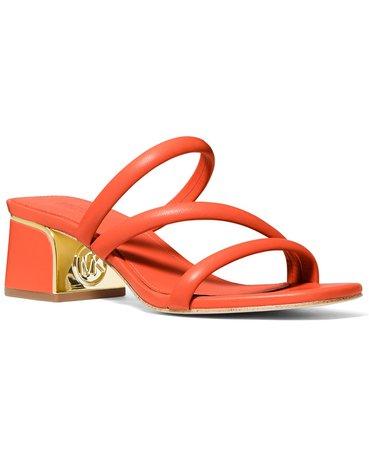 Michael Kors Lana Strappy Mule Mid-heel Sandals & Reviews - Sandals - Shoes - Macy's