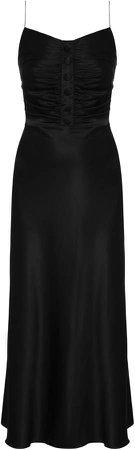 MATERIEL Button-Detailed Silk Satin Midi Dress